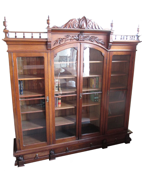 Walnut renaissance antique bookcase circa 1870 wooden for Antique furnishings