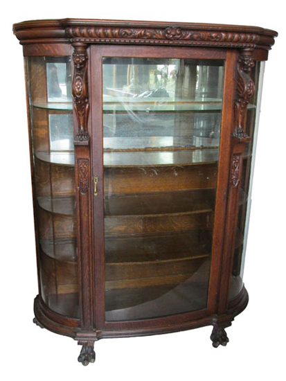 Oak China Cabinet Circa 1900 - Oak China Cabinet Circa 1900 - Wooden Nickel Antiques